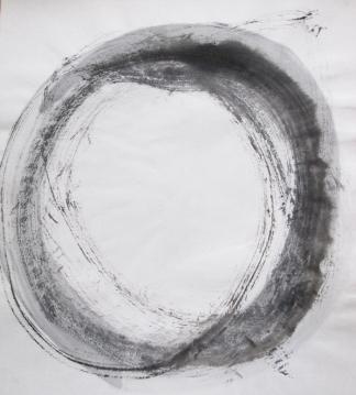 Mokrý kruh – zkoušela jsem techniku malováním na mokrý papír z učebnice sumi e.