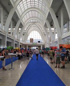 Modrý koberec a stánky fakult na BVV